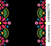 mexican folk vector wedding or...   Shutterstock .eps vector #1489881779
