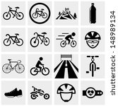 Biking vector icons set on gray.