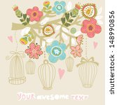 blossom branch and cages. ... | Shutterstock .eps vector #148990856