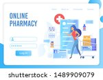 online pharmacy flat vector... | Shutterstock .eps vector #1489909079