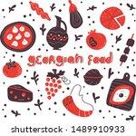 georgian cuisine with set of... | Shutterstock .eps vector #1489910933