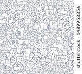 social media seamless doodle... | Shutterstock .eps vector #1489953356