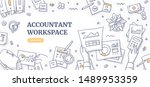 accountant workplace doodle... | Shutterstock .eps vector #1489953359