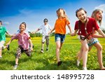 large group of children running ... | Shutterstock . vector #148995728