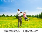 happy black father with his son ... | Shutterstock . vector #148995839