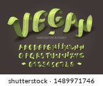 green vegan isometric set of... | Shutterstock .eps vector #1489971746