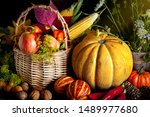 the table  decorated with... | Shutterstock . vector #1489977680