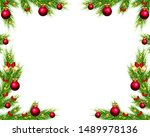christmas tree frame with toys | Shutterstock .eps vector #1489978136