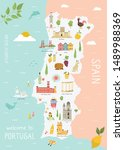 illustrated map of portugal... | Shutterstock .eps vector #1489988369