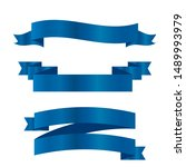 blue ribbons set.vector ribbon... | Shutterstock .eps vector #1489993979