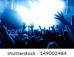 silhouettes of concert crowd in ... | Shutterstock . vector #149002484
