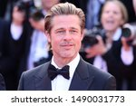 """Small photo of CANNES, FRANCE - MAY 21, 2019: Premiere of the film """"Once Upon A Time In Hollywood"""" during the 72nd Cannes Film Festival - Brad Pitt"""