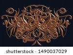 3d rendering of a copper relief ...   Shutterstock . vector #1490037029