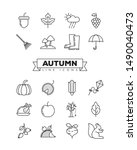 autumn line icons set....