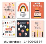 happy birthday greeting card... | Shutterstock .eps vector #1490043599
