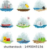 set of types of air pollution.... | Shutterstock .eps vector #1490045156