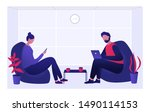 two colleagues young man and... | Shutterstock .eps vector #1490114153
