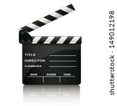 clapper board isolated on white ...