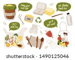 hand drawn elements of zero... | Shutterstock .eps vector #1490125046