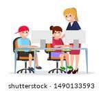 teacher helping elementary... | Shutterstock .eps vector #1490133593