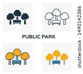public park outline icon. thin... | Shutterstock .eps vector #1490142386