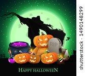 happy halloween  postcard with... | Shutterstock .eps vector #1490148299