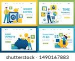set flat 2d concepts saving... | Shutterstock .eps vector #1490167883