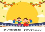 happy chuseok background vector ... | Shutterstock .eps vector #1490191130