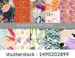 collection of seamless patterns.... | Shutterstock .eps vector #1490202899