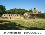 Ruins of Lukov Castle. The courtyard.  Central Moravia. Europe.