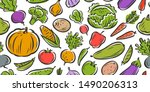 vegetables seamless background  ... | Shutterstock .eps vector #1490206313