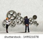 businessman and businesswoman... | Shutterstock . vector #149021078