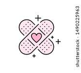 bandage icon. pink plaster...   Shutterstock .eps vector #1490225963