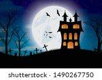Halloween Bats And Dark Castle...