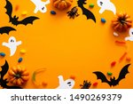 Stock photo happy halloween holiday concept halloween decorations pumpkins bats candy ghosts bugs on 1490269379