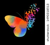 abstract butterfly multicolored ... | Shutterstock .eps vector #1490318513
