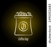 coffee bag hand draw neon icon. ...