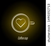 coffee cup hand draw neon icon. ...