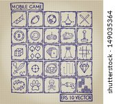 Mobile Game Icon Doodle Set