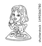 happy schoolgirl eating lunch... | Shutterstock .eps vector #1490366780