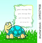 cartoon turtle on green grass... | Shutterstock .eps vector #149037908