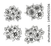 flowers set. collection of...   Shutterstock . vector #1490452106