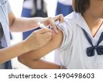 the nurse is injecting anti...   Shutterstock . vector #1490498603