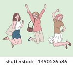 young women are jumping with... | Shutterstock .eps vector #1490536586