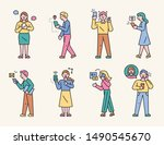 characters showing various ways ... | Shutterstock .eps vector #1490545670