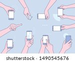 finger gestures using mobile.... | Shutterstock .eps vector #1490545676