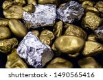 Gold And Silver Nuggets On...