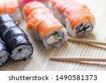 sushi. japanese national... | Shutterstock . vector #1490581373