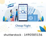 cheap flights  airline sale... | Shutterstock .eps vector #1490585156