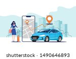 online ordering taxi car  rent... | Shutterstock .eps vector #1490646893